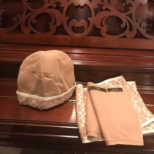 Coach Tan & Cream Hat and Scarf